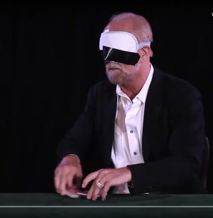 Richard Turner blindfolded